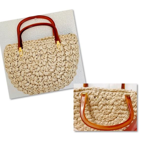 Vintage Handbags - VINTAGE FORSUM RAFFIA LUCITE HANDBAG